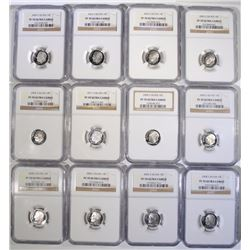 LOT OF ( 12 ) SILVER ROOSEVELT DIMES, NGC PF-70 ULTRA CAMEO: SEE DESCRIPTION