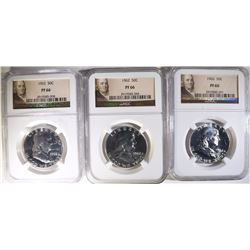 LOT OF ( 3 ) 1962 FRANKLIN HALF DOLLARS, NGC PROOF-66