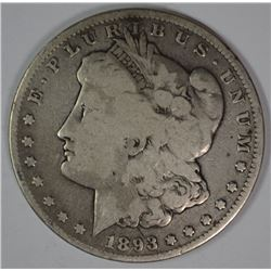 1893-CC MORGAN SILVER DOLLAR, FINE  KEY DATE