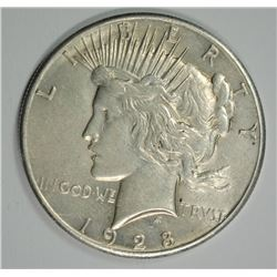 1928 PEACE SILVER DOLLAR, AU  KEY COIN!