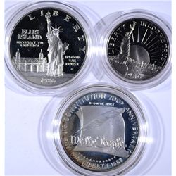 2 - COMMEMORATIVE SETS; 1986 2pc STATUE of LIBERTY & 1987 CONSTITUTION SILVER $1