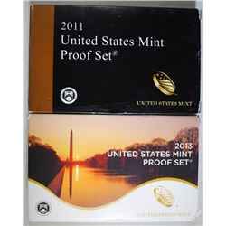2011 & 2013 U.S. PROOF SETS IN ORIGINAL PACKAGING