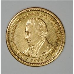 1905 LEWIS AND CLARK $1.00 GOLD COMMEMORATIVE, AU