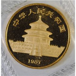1987 GEM BU CHINESE 1/2 OUNCE .999  GOLD PANDA IN ORIGINAL PLASTIC