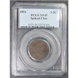 1804 HALF CENT PCGS XF 45 SPIKED CHIN