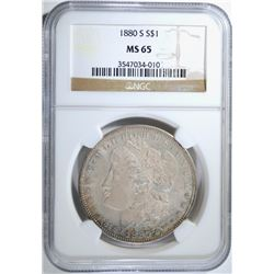 1880-S MORGAN SILVER DOLLAR NGC MS 65  BEAUTIFUL COLOR