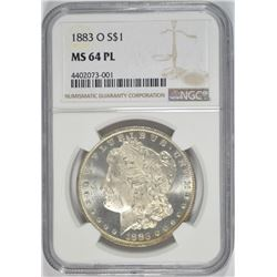 1883-O MORGAN SILVER DOLLAR NGC MS 64 PL