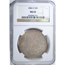 1884-O MORGAN SILVER DOLLAR NGC MS 65  BEAUTIFUL COLOR