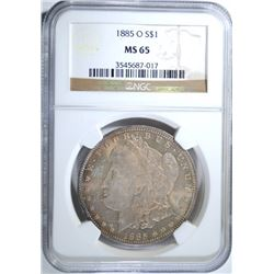 1885-O MORGAN SILVER DOLLAR NGC MS 65  BEAUTIFUL COLOR