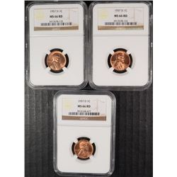 3 1957-D LINCOLN CENTS NGC MS 66 RD