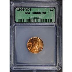 1909 VDB LINCOLN CENT, ICG MS-66 RED