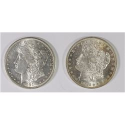 1881-S & 1885-O MORGAN SILVER DOLLARS, CHOICE BU+
