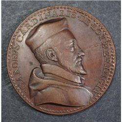 BRONZE VATICAN MEDAL CARDINAL LOTHERINGIA NO DATE  SHATTERED DIES  COOL MEDAL!