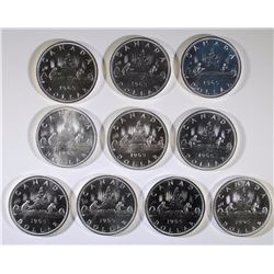 ( 10 ) 1965 CANADIAN SILVER DOLLARS FROM PL SETS