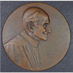 LARGE BRONZE PAPAL MEDAL POPE LEO XIII