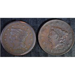 1817 VF CLEANED, & 1845 DAMAGED LARGE CENTS