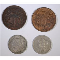 2 & 3 CENT LOT, 4 COINS