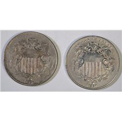 2-1867 SHIELD NICKELS: 1-XF & 1-XF/AU