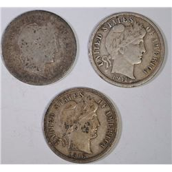 BARBER DIMES: 1892-S GOOD, 1911 VF & 1916 VF