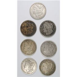 7 - MORGAN SILVER DOLLARS, ALL DIFFERENT, AVG CIRC: 1884, 1885, 1886-O, 1887,