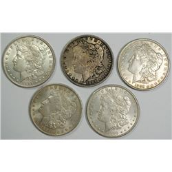( 5 )  MORGAN SILVER DOLLARS: 1885-O, 1886, 2-1889 & 1900