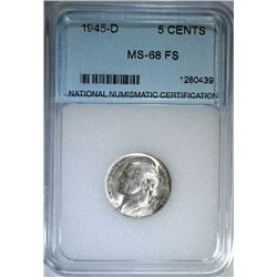 1945-D JEFFERSON SILVER NICKEL, NNC GRADED  SUPERB GEM BU FULL STEPS