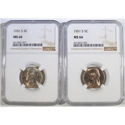 ( 2 ) 1951-S JEFFERSON NICKELS, NGC MS-66