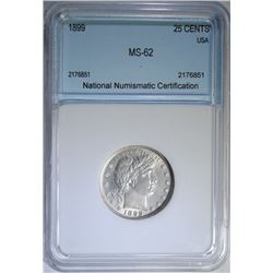 1899 BARBER QUARTER, NNC GRADED CHOICE BU