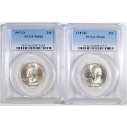 ( 2 ) 1947-D WASHINGTON QUARTERS, PCGS MS-66