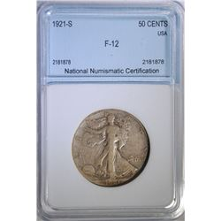 1921-S WALKING LIBERTY HALF DOLLAR, NNC GRADED FINE
