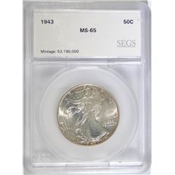 1943 WALKING LIBERTY HALF DOLLAR, SEGS GRADED GEM BU