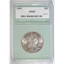 1945 WALKING LIBERTY HALF DOLLAR,  NTC GEM BU