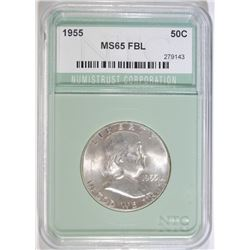 1955 FRANKLIN HALF DOLLAR, NTC GRADED GEM BU FBL