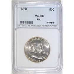 1958 FRANKLIN HALF DOLLAR, NNC GRADED SUPERB GEM BU FBL