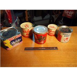 Tins (5) (Shamrock Lard, Sasco Honey, Skyflakes Crackers)