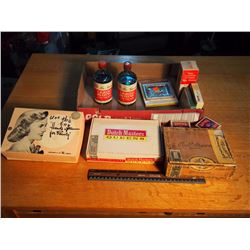 Box Of Misc. (Cigar Boxes, Sewing Kit, Liquid Blue, Tinting, Etc.)