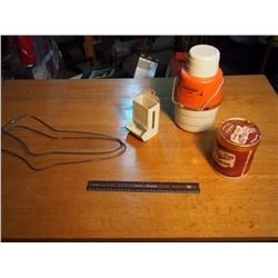 Stocking Stretchers, Matchstick Holder, Co-Op Ice Cream Container, Masco Cooler