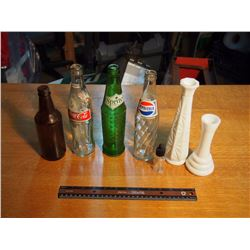 Soda Bottles, Milk Glass Vases, Beer Bottle