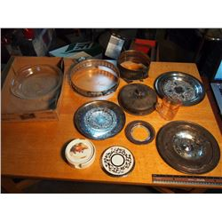 Lot Of Kitchenware (Some Possibly Silver, Pink Glass Measuring Cup)