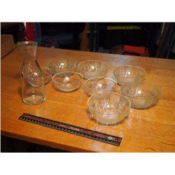 Lot Of Glass Bowls & 1/2 L Milk Bottle
