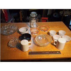 Lot Of Kitchenware (Candy Canister, Milk Glass, Bowls, Dishes Etc.