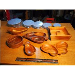 Wooden Bowls And 5 Pc Glass Storage Bowls
