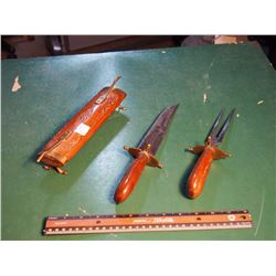 Wood 2 Pronged Fork And Knife W/ Display/Holster