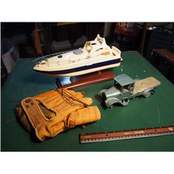 Wood Boat, Toy Truck, Ball Glove