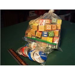 Bag Of Alphabet Blocks W/ Bag Of Pins