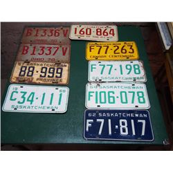 Lot Of Licence Plates (57,62,64,66,67,68, 70, 73)