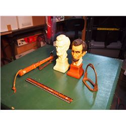 Abraham Lincoln Busts, Stirrup, And Clay Shooter