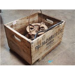 Palm Dairies Wood Box W/ Pressure Gauge