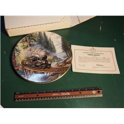Christian Bell Porcelain Collector Plate, Timber Country, The Age Of Steam Series