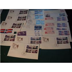 Lot Of 19 Canada Post First Day Covers (FDC's)) Corner Block Of 4 Fdc'S